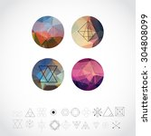 abstract geometric patterns set ... | Shutterstock .eps vector #304808099