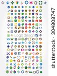 huge mega set of abstract...   Shutterstock .eps vector #304808747