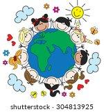 mixed ethnic children around...   Shutterstock .eps vector #304813925