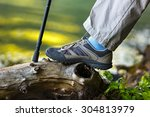 foot tourist in hiking boots. | Shutterstock . vector #304813979