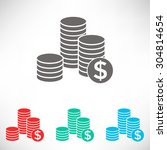 stack of coins icon with dollar ... | Shutterstock .eps vector #304814654