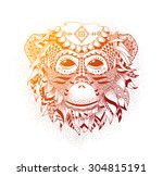 Vector Illustration Of A Monke...