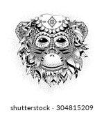vector illustration of a monkey ...   Shutterstock .eps vector #304815209