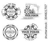 set poker emblems. the... | Shutterstock .eps vector #304821707