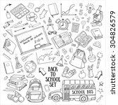 back to school hand drawn... | Shutterstock .eps vector #304826579