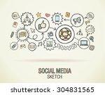 social media hand draw... | Shutterstock .eps vector #304831565