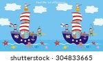 boat  find ten differences | Shutterstock .eps vector #304833665