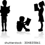 silhouette of a child reading a ... | Shutterstock .eps vector #304835861