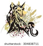 unicorn splashes. colorful... | Shutterstock .eps vector #304838711
