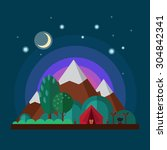 night landscape with mountains. ... | Shutterstock .eps vector #304842341