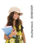 young happy girl carrying colorful notebooks isolated on white - stock photo
