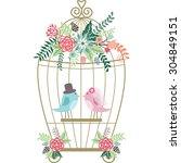 wedding floral birdcage birds. | Shutterstock .eps vector #304849151