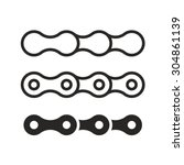bicycle chain links line set.... | Shutterstock .eps vector #304861139