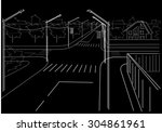 linear architectural sketch...   Shutterstock .eps vector #304861961