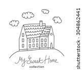 sweet home illustration in... | Shutterstock .eps vector #304862441