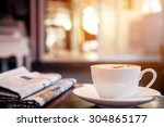 cup of cappuccino with...   Shutterstock . vector #304865177