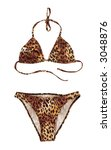 Leopard swimsuit isolated on white background with clipping path - stock photo