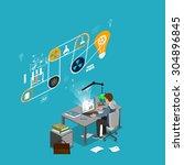 man sitting at a computer ... | Shutterstock . vector #304896845