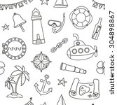 seamless nautical pattern.... | Shutterstock . vector #304898867