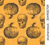 hand drawn halloween seamless... | Shutterstock .eps vector #304900709
