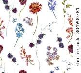 watercolor floral vintage... | Shutterstock . vector #304900781
