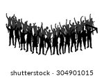 cheering crowd silhouettes ... | Shutterstock .eps vector #304901015