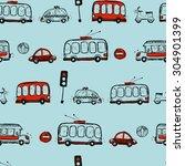 funny cars. kids seamless... | Shutterstock .eps vector #304901399