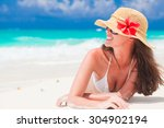 Beautiful Woman With Sun Hat...