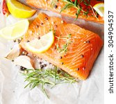 raw salmon fillet with rosemary ... | Shutterstock . vector #304904537