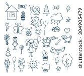 children drawing. doodle set of ... | Shutterstock .eps vector #304905479