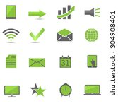 green web icon set  technology... | Shutterstock .eps vector #304908401