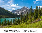 Beautiful view of Josephine lake, Glacier National Park