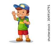 Funny Cartoon Little Boy With...