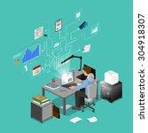 concept freelancer at work... | Shutterstock .eps vector #304918307