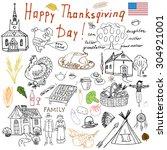 thanksgiving doodles set.... | Shutterstock .eps vector #304921001