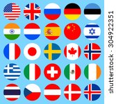 circle flags icons in flat... | Shutterstock .eps vector #304922351