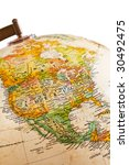 part of a globe with map of...   Shutterstock . vector #30492475