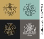 vector set of tattoo styled... | Shutterstock .eps vector #304924961