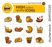 color flat stickers and icons... | Shutterstock .eps vector #304935335