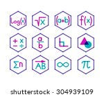 set of 12 icons for different... | Shutterstock .eps vector #304939109