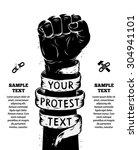 raised fist held in protest.... | Shutterstock . vector #304941101