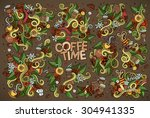 coffee time nature doodles hand ...   Shutterstock .eps vector #304941335