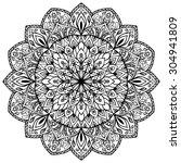 hand drawn mandala with fine... | Shutterstock .eps vector #304941809