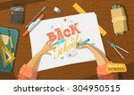 back to school drawing | Shutterstock .eps vector #304950515
