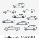 liner icons set of cars types.... | Shutterstock .eps vector #304955381