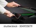 woman using scanner...   Shutterstock . vector #304955879