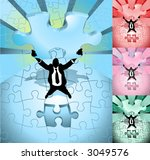 A business man completing a jigsaw puzzle, main image on separate layers for easy editing. Also includes several different color versions - stock vector