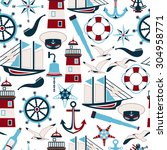 seamless pattern of nautical... | Shutterstock .eps vector #304958771
