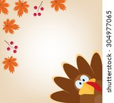 greeting card with turkey in...   Shutterstock .eps vector #304977065