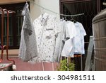 clothes that are dried in the... | Shutterstock . vector #304981511